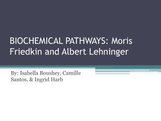 BIOCHEMICAL PATHWAYS:  Moris Friedkin  and Albert  Lehninger