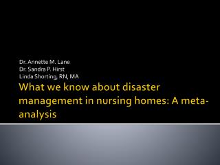 What we know about disaster management in nursing homes: A meta-analysis