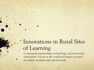 Innovations in Rural Sites of Learning