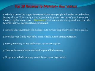 Top 10 Reasons to Maintain Your Vehicle