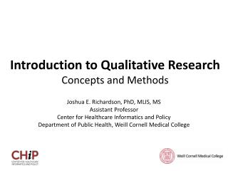 Introduction to Qualitative Research Concepts and Methods