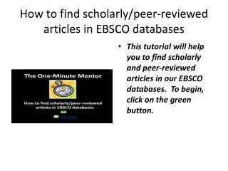 How to find scholarly/peer-reviewed articles in EBSCO databases