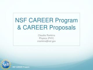 NSF CAREER Program & CAREER Proposals