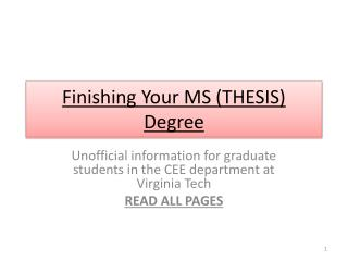 Finishing Your MS  (THESIS) Degree