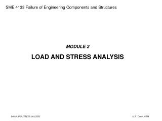 MODULE 2 LOAD AND STRESS ANALYSIS