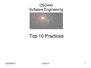 CSC444 Software Engineering
