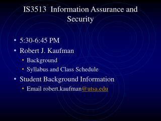 IS3513  Information Assurance and Security