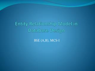 Entity Relationship Model in Database  Design