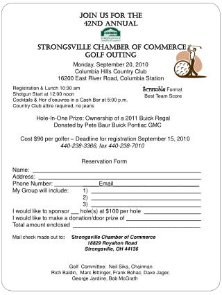 Join Us For The 42nd Annual  Strongsville Chamber of commerce Golf outing