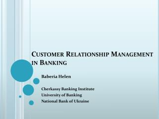 Customer Relationship Management in Banking