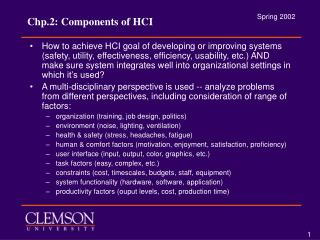 Chp.2: Components of HCI