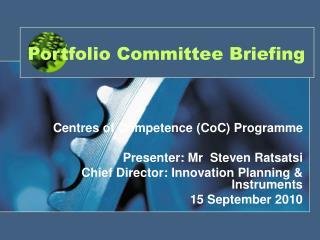 Portfolio Committee Briefing