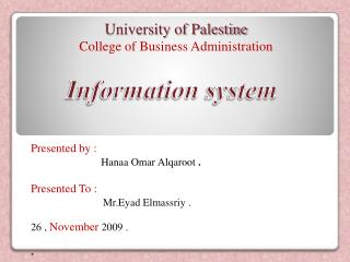 University of Palestine College of Business Administration