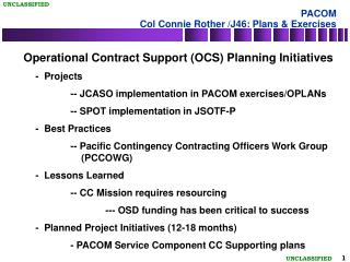 PACOM Col Connie Rother /J46: Plans & Exercises