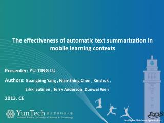 The effectiveness of automatic text summarization in mobile learning contexts