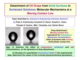 Detachment of Oil Drops from Solid Surfaces in Surfactant Solutions : Molecular Mechanisms at a Moving Contact Lin