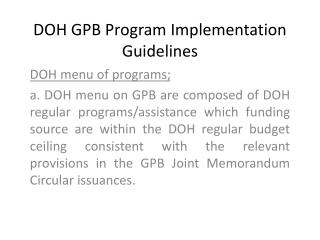 DOH GPB Program Implementation Guidelines