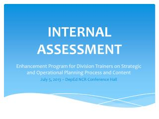 INTERNAL ASSESSMENT