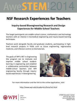 NSF Research Experiences for Teachers
