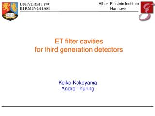 ET filter cavities for third generation detectors