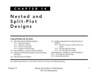 Design of Engineering Experiments  – Nested and Split-Plot Designs
