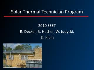 Solar Thermal Technician Program