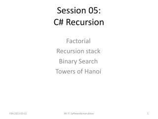 Session 05: C# Recursion