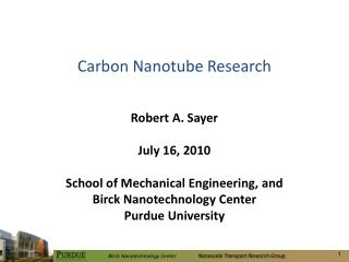Carbon Nanotube Research