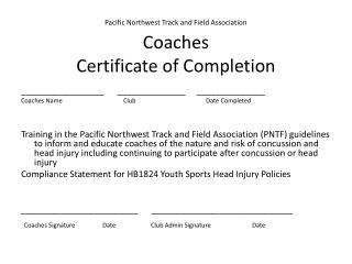 Pacific Northwest Track and Field Association Coaches  Certificate of Completion