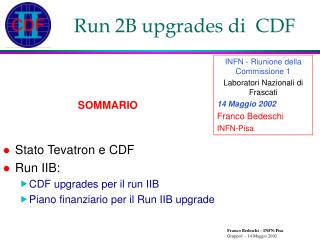 Run 2B upgrades di  CDF