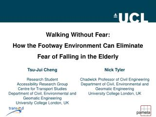 Walking Without Fear: How the Footway Environment Can Eliminate Fear of Falling in the Elderly
