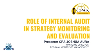 ROLE OF INTERNAL AUDIT IN STRATEGY MONITORING AND EVALUATION