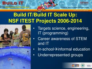 Build IT/Build IT Scale Up:  NSF ITEST Projects 2006-2014