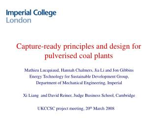 Capture-ready principles and design for pulverised coal plants