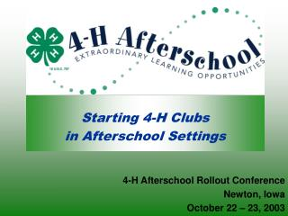 Starting 4-H Clubs  in Afterschool Settings