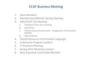 CCAF Business Meeting