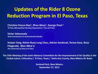 Updates of the Rider 8 Ozone  Reduction  Program in  El Paso,  Texas