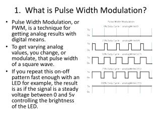 1.  What  is  Pulse Width Modulation ?