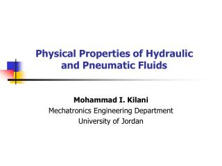 Physical Properties of Hydraulic and Pneumatic Fluids