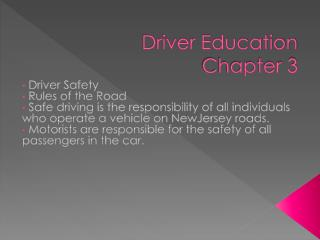 Driver Education Chapter 3