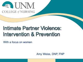 Intimate Partner Violence: Intervention & Prevention