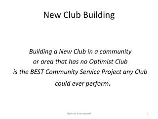 New Club Building