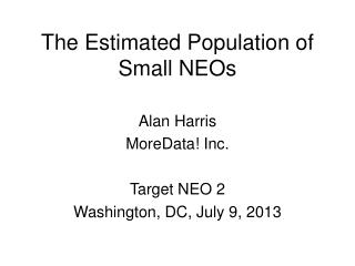 The Estimated Population of Small NEOs