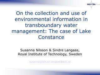 On the collection and use of environmental information in transboundary water management: The case of Lake Constance