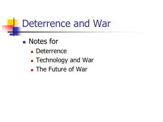 Deterrence and War