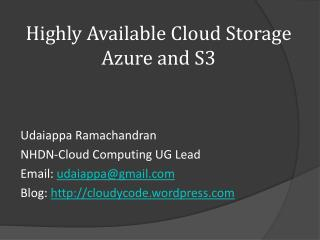 Highly Available Cloud Storage Azure and S3