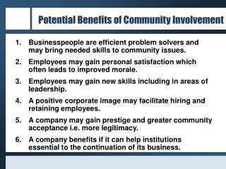 Potential Benefits of Community Involvement