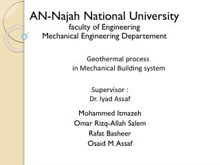 AN-Najah National University faculty of Engineering Mechanical Engineering Departement