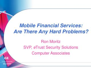 Mobile Financial Services: Are There Any Hard Problems?