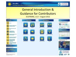 General Introduction &  Guidance for Contributors ECOTRANS, v1.0 – August 2012